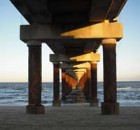 photo under an ocean peer bridge