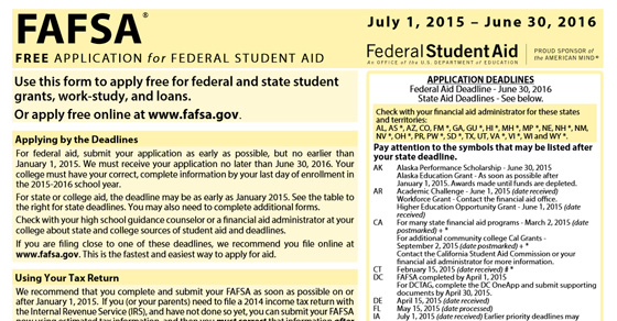 Printable FAFSA Application 2014-2015 - Kids and Money Today