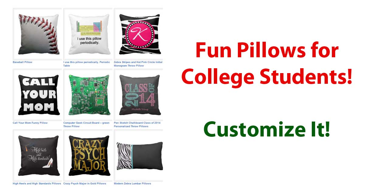 College Dorm Pillow Customizable Gift